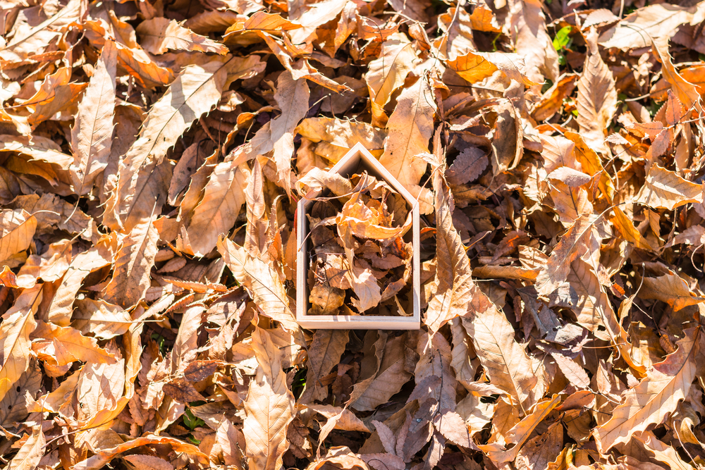 a wooden sculpture shaped like a home lying in a bed of colorful fallen leaves