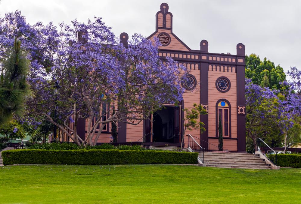a colorful church exterior