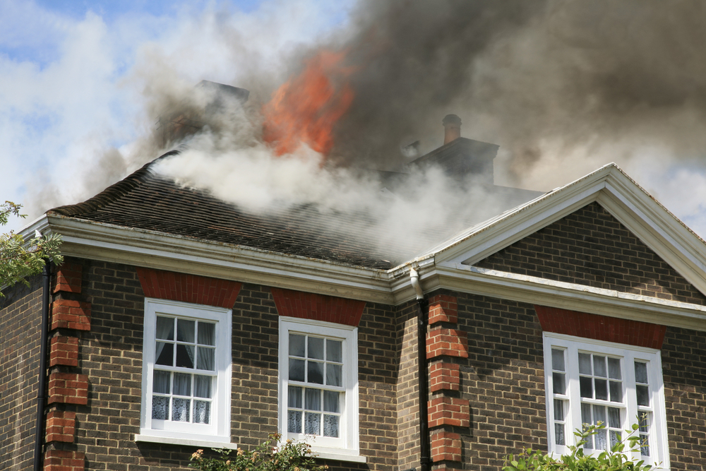A house's roof burns