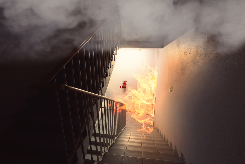 A fire is spreading through a stairwell